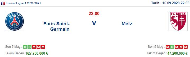 PSG Metz İddaa ve Maç Tahmini 16 Eylül 2020