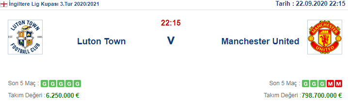 Luton Town Manchester United İddaa ve Maç Tahmini 22 Eylül 2020