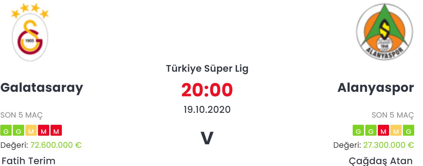 Galatasaray Alanyaspor İddaa ve Maç Tahmini 19 Ekim 2020