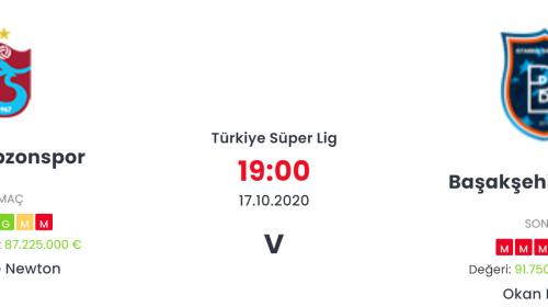 Trabzonspor Başakşehir İddaa ve Maç Tahmini 17 Ekim 2020