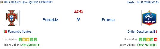 Portekiz Fransa İddaa ve Maç Tahmini 14 Kasım 2020