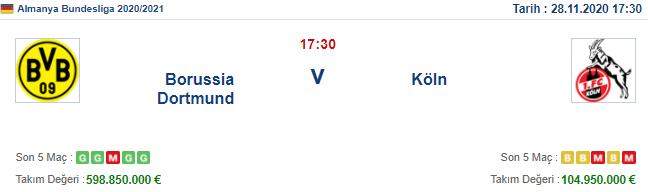 Borussia Dortmund Köln İddaa ve Maç Tahmini 28 Kasım 2020