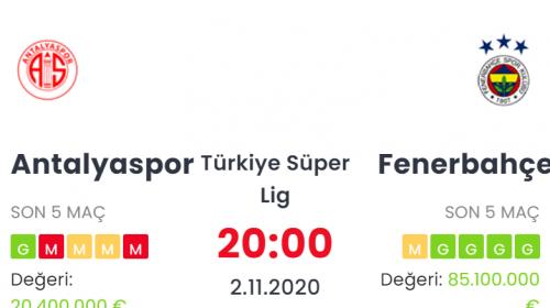 Antalyaspor Fenerbahçe İddaa ve Maç Tahmini 2 Kasım 2020