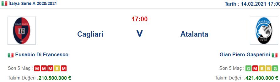 Cagliari Atalanta İddaa ve Maç Tahmini 14 Şubat 2021