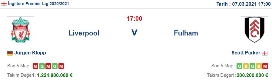Liverpool Fulham İddaa ve Maç Tahmini 7 Mart 2021