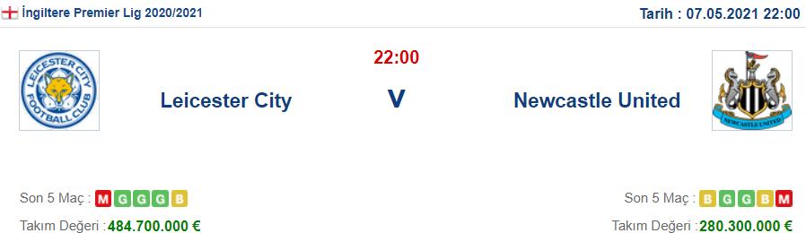 Leicester City Newcastle United İddaa ve Maç Tahmini 7 Mayıs 2021