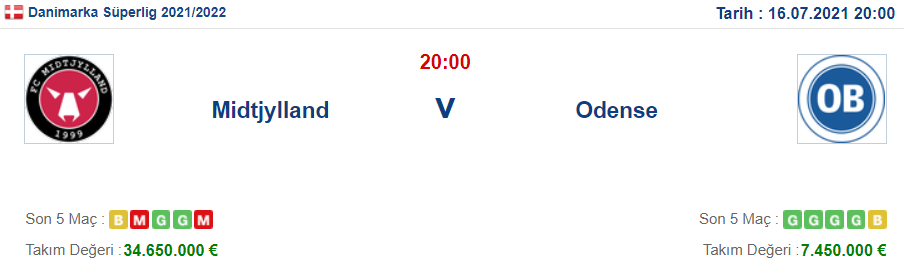 Midtjylland Odense İddaa ve Maç Tahmini 16 Temmuz 2021